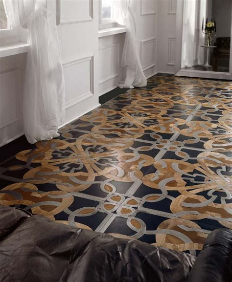mosiac floor wood floor mosaic with steel and stone inserts by parchettificio