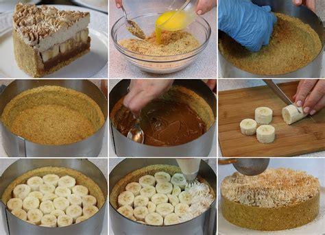 Banānu kūka ar putukrējumu un karameli bez cepšanas ...