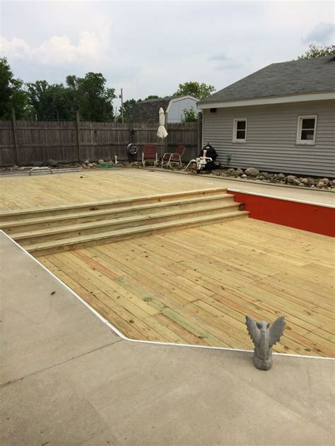 converted inground pool to 2 level deck my husband and i