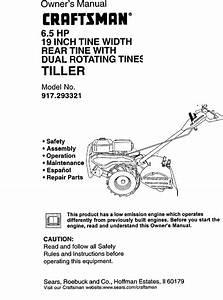 Craftsman 917293321 User Manual 6 5hp Rear Tine Tiller