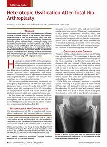 Pdf  Heterotopic Ossification After Total Hip Arthroplasty