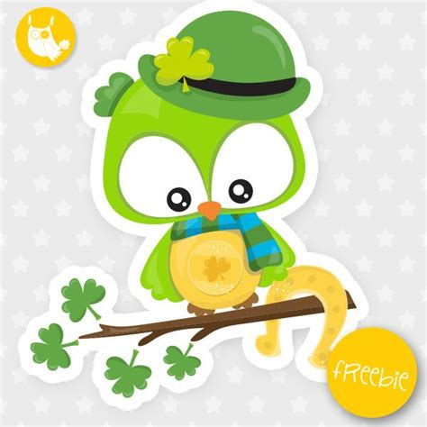 st patrick owl freebie  clipart freebie commercial