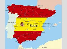 Abstract vector color map of Spain country coloured by