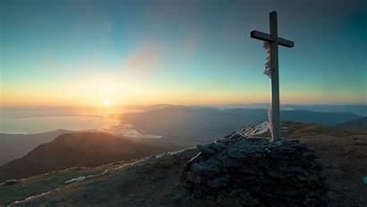 Cross Sky Catholic Nature Sunset Landscape Mountains