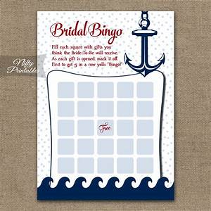 printable bridal shower bingo game nautical With nautical wedding shower
