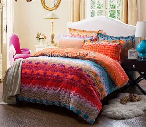 free shipping cotton bed linens sanding 4pcs orange blue geometric pattern queen king comforter