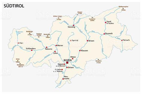 einfache karte von der italienischen provinz suedtirol