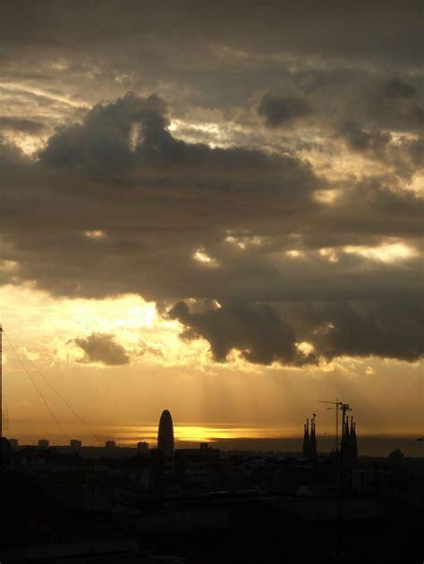 Hd Wallpaper Barcelona Sunset Sky Storm Rain Cloud Sky