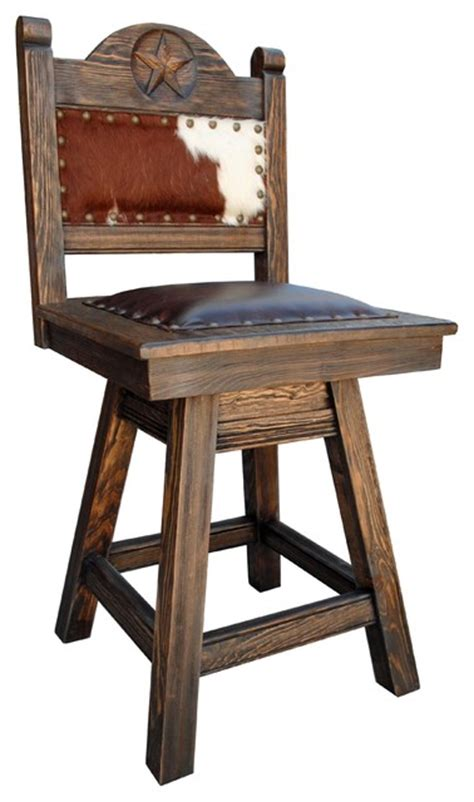 "Texas Swivel Bar Stool, Cowhide, 24"" Counter Height"