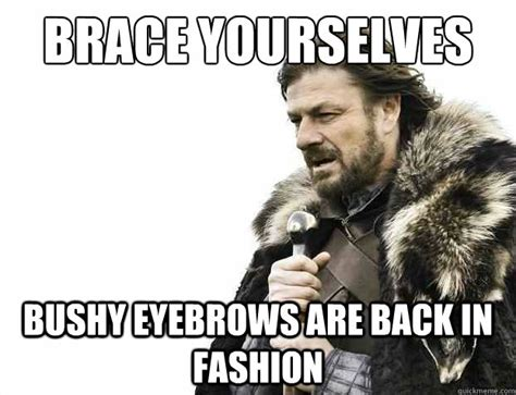 Bushy Eyebrows Meme - brace yourselves bushy eyebrows are back in fashion brace yourselves borimir quickmeme