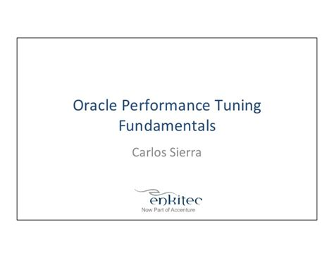 oracle performance tuning fundamentals