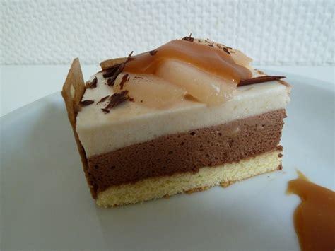 beurre de cuisine entremets saveurs du nord mousse poire chocolat et nappage caramel recette de entremets