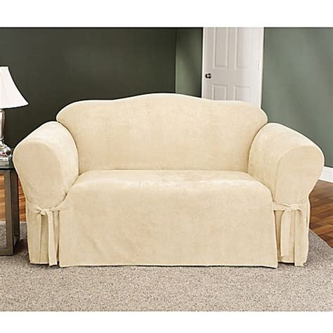 bed bath and beyond sofa covers sure fit soft suede loveseat furniture cover bed bath