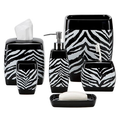 Zebra Print Bathroom Set by Black And White Zebra Print Bath Accessories