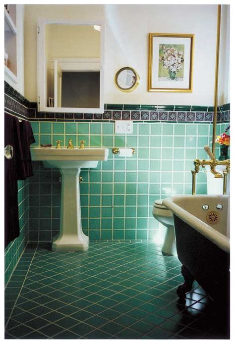 retro green bathroom tile ideas  pictures