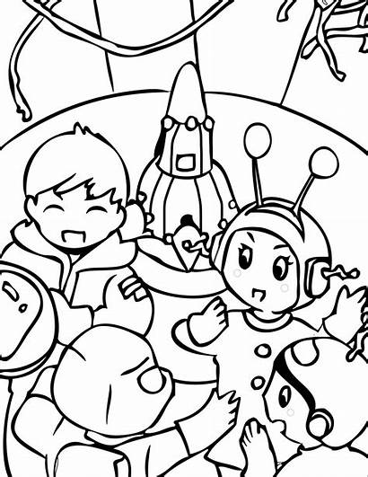 Coloring Space Pages Outer Printable Alien Party