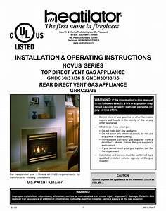Heatilator Gndc30 Installation  U0026 Operating Instruction