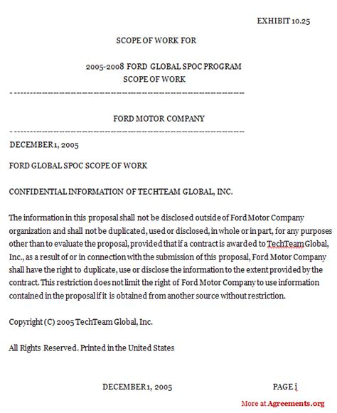 Scope Of Services Agreement Template by Global Scope Of Work Agreement For It Support Services