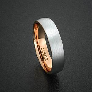 mens wedding band tungsten ring two tone 6mm brushed white With mens wedding rings brushed white gold