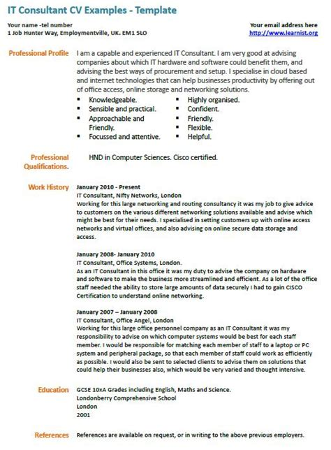 Key Skills Cv Exles by It Consultant Cv Exle Learnist Org