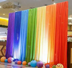 Wholesale 3x3m Rainbow Color Silk Wedding Backdrops For