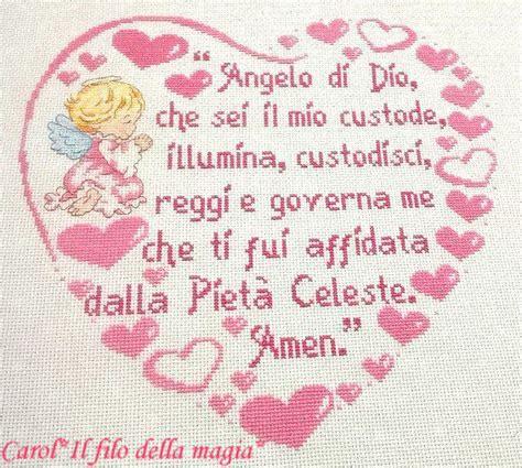 cuscino nascita punto croce cuscino quadretto cuore quot preghiera angelo di dio bimba