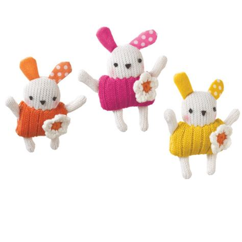 small colorful knit bunny  flower attachment ornament