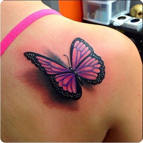lovely pink  black  butterfly tattoo   shoulder