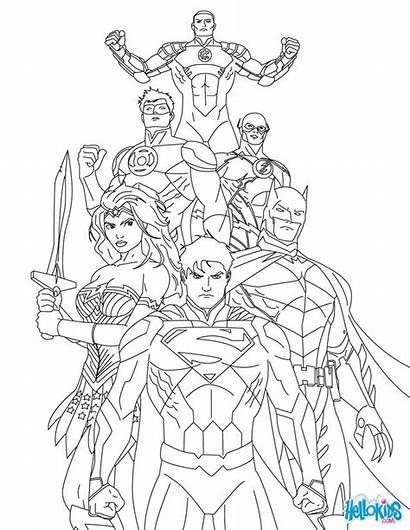 Coloring Pages Superhero Superman League Justice Hellokids