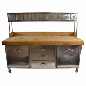 Industrial Stainless Steel and Wood Kitchen Work Station