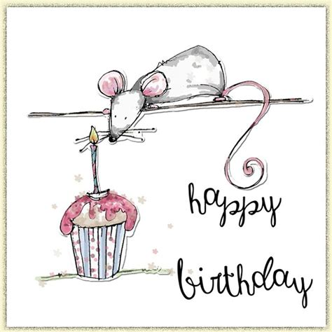 Happy Birthday, Mouse & Cupcake  Tracey Russell Drawn