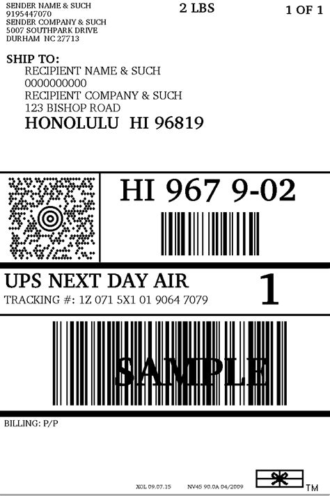 ups label template printable label templates