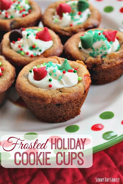 frosted holiday cookie cups easy christmas cookies