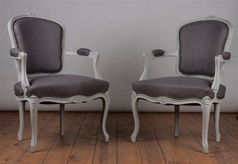 Pair Of French Louis Xv Style Painted Upholstered Fauteuil