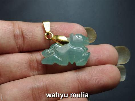 kalung batu giok hijau ukir shio anjing asli kode 711 wahyu mulia