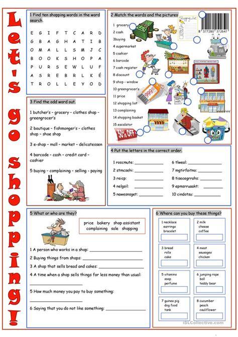 shopping vocabulary exercises worksheet  esl