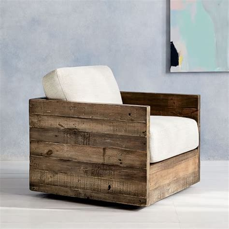 emmerson 174 reclaimed wood swivel chair west elm