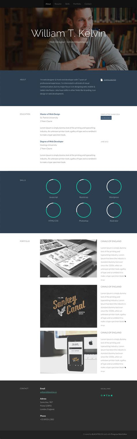 kelvin pine a free personal resume bootstrap theme