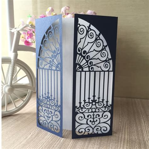 30pcs Royal Blue Laser Cut Inviting Card Paper Party Event