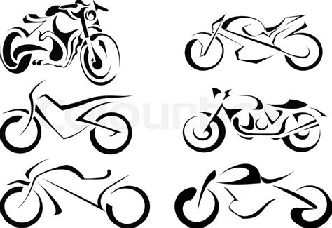 set  vector motorcycles   white background abstract