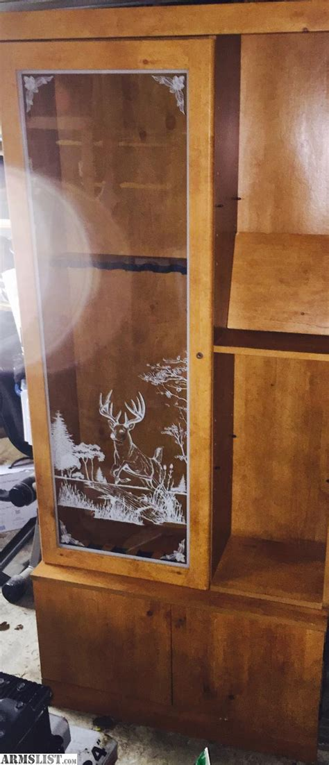 wood gun cabinet with etched glass armslist for sale trade glass etched gun cabinet lockable