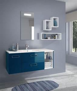Meuble Vasque 60 : meuble sous vasque seducta 60 cm 2 tiroirs bleu envie de salle de bain ~ Teatrodelosmanantiales.com Idées de Décoration