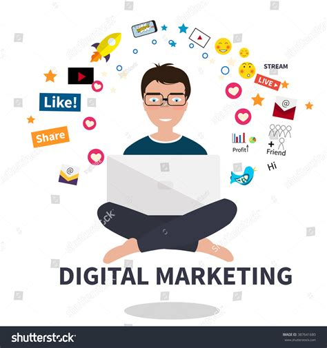 Digital Marketing Specialist by Digital Marketing Specialist Practicing Stock Vector