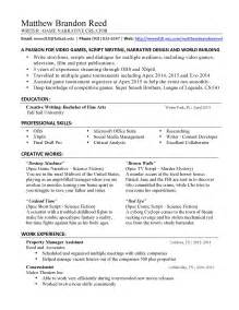 freelance writer resume sle creative writing resume