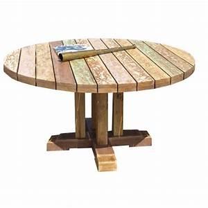 Table De Jardin Ronde En Bois : table de jardin ronde en teck topiwall ~ Dailycaller-alerts.com Idées de Décoration