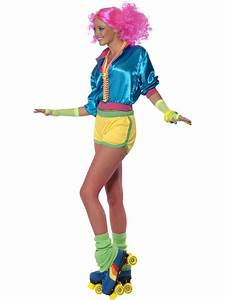 Ladies Skater Girl Costume Fancy Dress 70s 80s Neon Roller Disco Adult Outfit | eBay