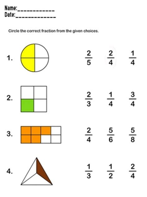 beginner fraction worksheets fractions worksheets