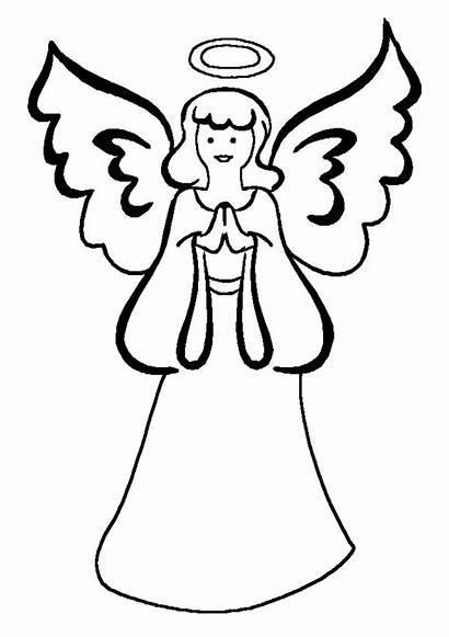 Angel Guardian Coloring Pages Clipart Simple Drawing