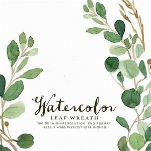 Watercolor Oval Leaf Wreath Clip Art-Woody/Individual PNG ...