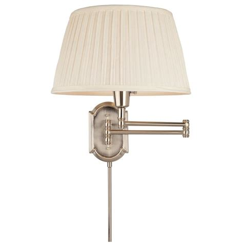 hton bay 1 light brushed nickel swing arm wall l with white pleated fabric shade hbp604 35